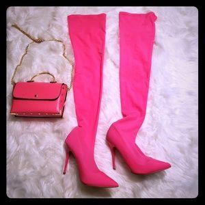 Pink sock boot & pink mini purse.